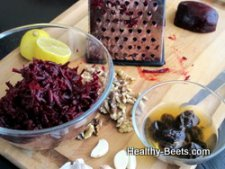Preparing beet salad