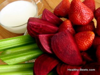 Juicing Beets and Strawberries