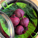 steaming beets