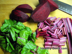 Tender beet greens and beets