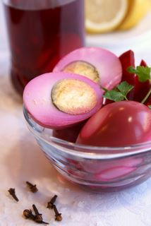 Pickled eggs with red beets